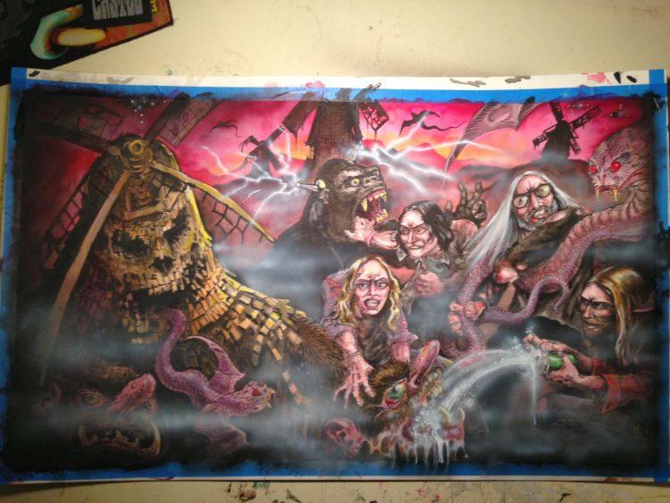 Earthless meets Heavy Blanket Gatefold artwork by Tim Lehi